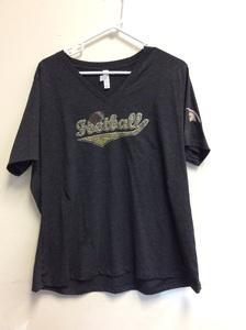 Bella and Canvas Ladies Glitter Football T-Shirts